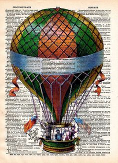 Hot Air Balloon Print - Vintage Book Page Print - Recycled Antique Book Print - Carnival Victorian Steampunk Airship. 11x14 $30