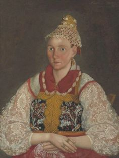 """Unknown artist  Portrait of an unknown in national costume. 1841  """"Rybinsk State Historical-Architectural and Art Museum-Reserve"""""""