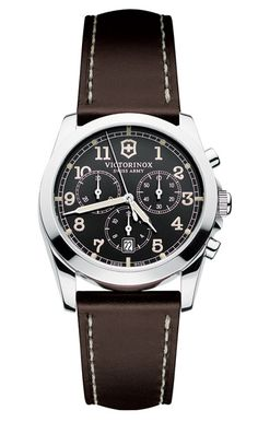 Steel Infantry chronograph ($550) by Victorinox Swiss Army; swissarmy.com.