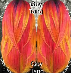 Sunset Shimmer Guy Tang Red dyed hair with yellow highlights