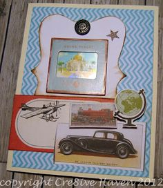 Handmade Vintage-feel Card: Planes, Trains and Automobiles