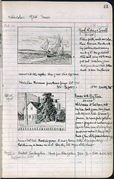 "workman: "" myimaginarybrooklyn: anaarp: Edward Hopper's sketchbook "" Artist Journal, Artist Sketchbook, Sketchbook Pages, Drawing Journal, Sketchbook Drawings, Drawing Sketches, Art Drawings, Sketching, Charcoal Drawings"