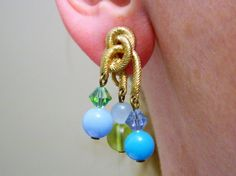 Vintage 60s Beaded Dangle Earrings Clip On Gold Tone Pastel Beads Mid Century #DropDangle