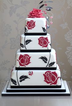 A contemporary 4 tier handpainted cake. by Planet Cake Creative Wedding Cakes, Amazing Wedding Cakes, Creative Cakes, Amazing Cakes, Cake Wedding, Purple Wedding, Wedding Bands, Gorgeous Cakes, Pretty Cakes