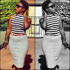 On some very retro vibes... #OOTD #style #stripes #redlips #cateye #shades #blackandwhite #havingfunwithfilters #twa #shorthairdontcare #abenalove