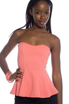 Daring Flair Padded Peplum Tube Top - Coral from Fashion Dazzle at Lucky 21