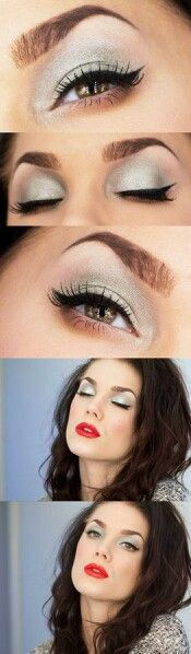 silver eyeshadow red lips
