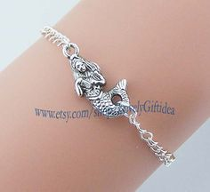 Sea goddess Little mermaid bracelet Silver mermaid charm Fish ocean jewelry women Silver plated chain Free to adjust the size wholesale by LovelyGiftidea, $1.69