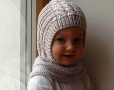 Merino Wool Balaclava Hat, Baby/ Toddler Hoodie hat with Pom Poms, Beige Hat - Neck warmer. Baby Hats Knitting, Knitted Hats, Elf Hut, Snow Hat, Crochet Toddler, Crochet Hoodie, Balaclava, Baby Sweaters, Neck Warmer