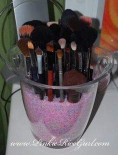 This is what I do with my makeup brushes....such a great idea