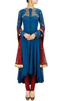 Blue and maroon embroidered asymmetrical anarkali set BY JOY MITRA. Shop now at: http://www.perniaspopupshop.com/whats-new #perniaspopupshop #joymitra #designer #ethnic #stunning #updates #fashion #style #happyshopping