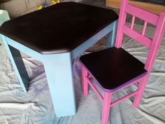 Little pink chair and kids table