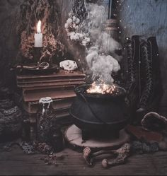 Can't help but love this cauldron by Susan Tuttle. Wiccan, Magick, Witchcraft, Pagan, Witch Room, Decoration Photo, Creepy, Autumn Cozy, Autumn Witch