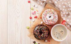 Обои еда, пирожные, глазурь, кофе, пончики
