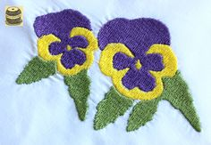 On Sale White cotton handkerchief with crocheted border and embroidered pansy design. Handmade  pict 2