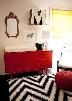 This gorgeous nursery has just the right amount of modern hipster mixed with vintage flair. That blocky M is for Monroe, whose mom Erika can take cred...
