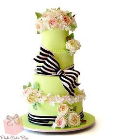 Black and Pink Cummerbund & Bow Wedding Cake #necklace #Bracelets #Fashion