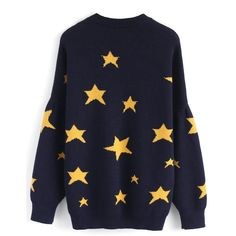 Chicwish Magical Yellow Stars Knit Sweater in Navy ($52) ❤ liked on Polyvore featuring tops, sweaters, star print sweater, chicwish tops, knit top, yellow knit sweater and navy blue sweater