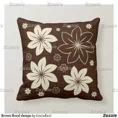 Brown floral design throw pillow Holiday Cards, Christmas Cards, Brown Cushions, Brown Floral, Christmas Card Holders, Custom Pillows, Keep It Cleaner, Floral Design, Throw Pillows