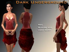 Fall colors outfit  Mesh skirt of different sizes L, M, S.  Sleeveless blouse red with stars