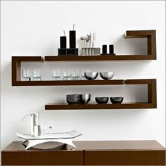 Calligaris Seattle Shelf, Walnut (Left Facing)