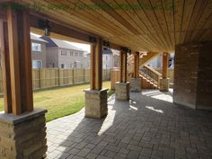 Planks of wood used to cover the deck ceiling. #Deck design #custom deck #interlocking #patio #Toronto