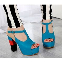 Fashion and Sweet Style Color Matching T-Strap and Peep Toes Design Thick Heel Women's Platform Pumps