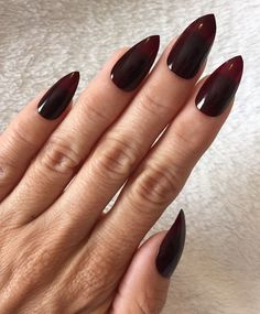 Set of 20 Handmade Dark Burgundy Wine Press on False Stiletto Nails Claws | eBay
