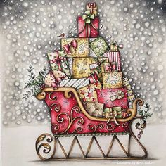 "finally finished my Christmas Sleigh from ""Johanna's Christmas colouring book"" . really enjoyed it too ❤️🎄❤️ Hope you have a wonderful day whatever you are up too ❤️️🎄❤️️ . Johanna Basford Books, Johanna Basford Coloring Book, Coloring Book Art, Colouring Pages, Adult Coloring, Christmas Books, Vintage Christmas, Magical Christmas, Joanna Basford"