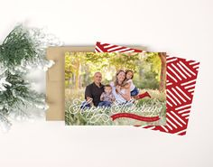 Christmas Photo Card  Red Banner by Paperelli on Etsy