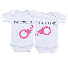 Twin Matching Outfits - Partners in Crime Twin Baby shower gifts Twin Onesies Twin Bodysuits,Twin baby onesies,Twin Outfits,Twin Babyshirts by DAIICHIBANdesigns on Etsy https://www.etsy.com/listing/255077511/twin-matching-outfits-partners-in-crime