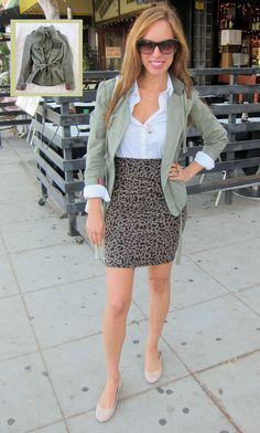 great animal print skirt look