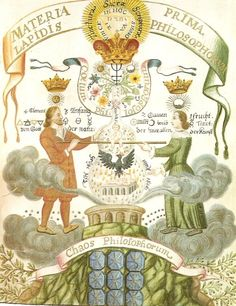 This painting, entitled Materia Prima Lapidis Philosophorum, is from the Circle of the Gold and Rosicrucians, a manuscript inspired by Aurea Catena a Homeri (Kirchweger, 1781). It is the cover art used on The Emerald Tablet: Alchemy for Personal Transformation. Basically, the work represents the transformation of the Chaos Philosophorum (Materia Prima or First Matter) into the Coelum Philosophorum (the perfected First Matter or Lapidis Philosophorum - Philosophers Stone).