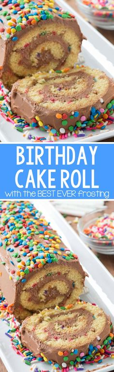 Birthday Cake Roll - this easy yellow cake roll recipe is filled with sprinkles and the BEST EVER chocolate frosting recipe! Everyone loves the birthday cake but they RAVE about this creamy chocolate frosting recipe. Weight Watcher Desserts, Cupcakes, Cupcake Cakes, Cake Roll Recipes, Dessert Recipes, Super Torte, Chocolate Frosting Recipes, Chocolate Filling, Yellow Cake Chocolate Frosting