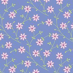 Daisy Vine periwinkle fabric by jillbyers on Spoonflower - custom fabric