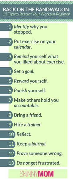 Getting Back on the Bandwagon?! Here are 13 Tips to Restart Your Workout Regimen!!! Share with your friends/family who are getting back on track - these are SUPER HELPFUL TIPS!
