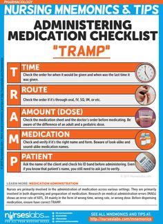 "Medication Administration Checklist: ""TRAMP"" Pharmacology Nursing Mnemonics and… Nursing School Notes, Nursing Career, Nursing Tips, Nursing Degree, Nursing Board, Nursing Scrubs, Ob Nursing, Nursing Planner, Nursing Math"
