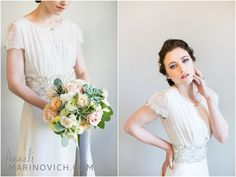 """bridal-fashion-photography-London"" Blush pink & grey wedding inspiration styled by @b.loved shot by www.annelimarinovich.com hair by @Kasia Fortuna make up by @Ana Ospina flowers by @liz inigo jones dress by @Luella's Boudoir"
