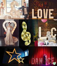 Giant Illuminated Sign Wedding Decor Mood Board from The Wedding Community