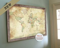 Vintage Inspired Framed Map, Old World Charm, 30X45 Inches Textured Ink