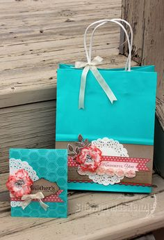 Gift bag & Card set using creped filter paper flowers