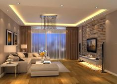 ▷ 1001 + fantastic ideas for the decoration of your modern living room - idea for living room decoration, cream-colored sofa, stone wallpaper, pendant ceiling light, art - Indian Living Rooms, Living Room Modern, Small Living, Living Room Designs, Living Room Decor, Living Room Brown, Decoration Salon Photo, Home Decoration, Decorations