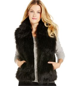 INC International Concepts Collared Faux Fur Vest, Only at Macy's - Handbags & Accessories - Macy's