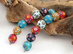 Designer Perlen aus Polymer clay 16mm Millefior... von filigran-Design   auf DaWanda.com