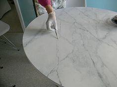 How To Happy Hour- Faux Carrara Marble + IKEA hack