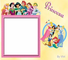 Disney Princess All Together and Alone. Free Printable Photo Frames.