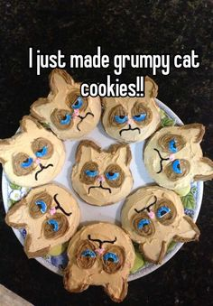 I just made grumpy cat cookies!!