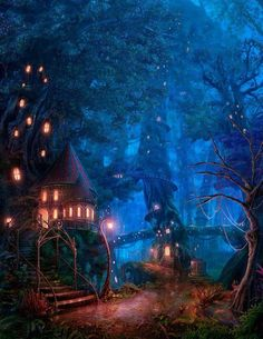 [Fantasy Art Addiction] - Tree House Forest by RealNam Fantasy Places, Fantasy World, Fantasy Forest, Fantasy House, Fantasy Setting, Art And Illustration, Landscape Illustration, Fantasy Landscape, Landscape Art