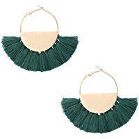 VK Accessories Semicircle Fan Shape Tassel Earrings Hoop Dangle Ear Drop Soriee for Women