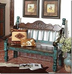 Beautiful western turquoise bench from King Ranch Saddle Shop. | Stylish Western Home Decorating #westernfurniture